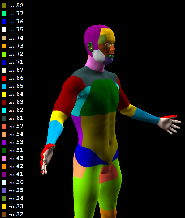 Screenshot of Browser content running Three.js showing man with a texture featuring colors coding human skin regions